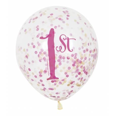 6 Ballons transparent impression 1 an princesse en latex rempli de confettis en papier rose, ces ballons sont ultra tendance !