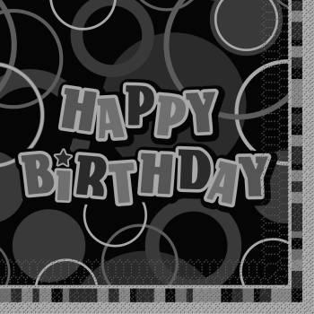 16 Serviettes anniversaires theme Black/White