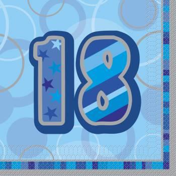 16 Serviettes 18 ans Bleu