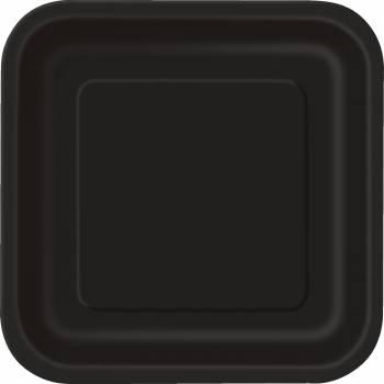 14 Assiettes carrées noires