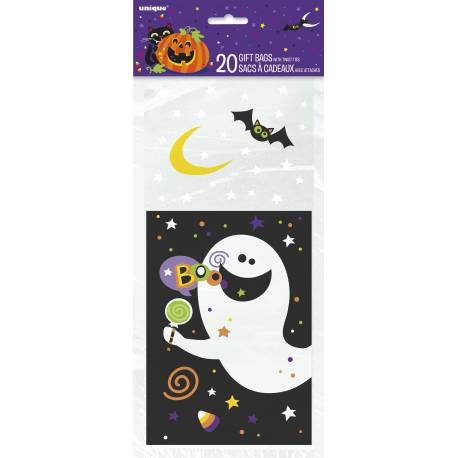 20 Sachets à confiseriestransparent avec impressionmonstres d'Halloween Dimensions : 28 cm x 13 cm