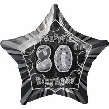 Ballon star noir 80 ans