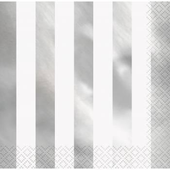 16 Serviettes à rayures argent métallisés