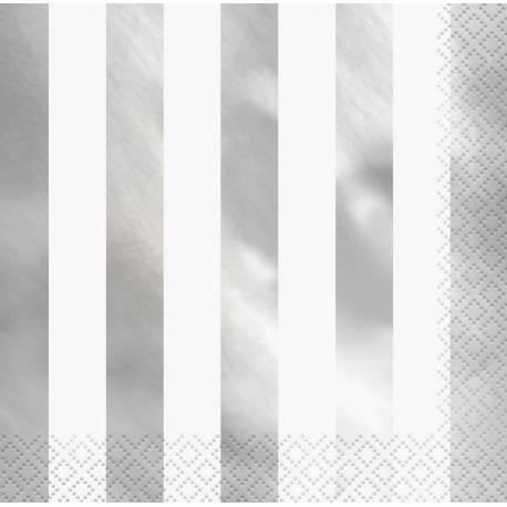 16 Serviettes en papier à rayures argent métallisés Dimensions : 33cm x 33cm