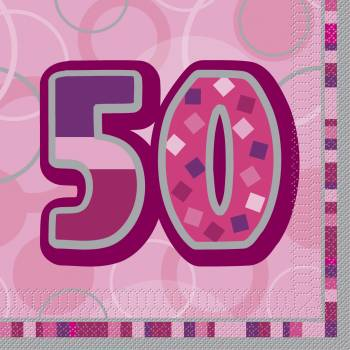 16 Serviettes 50 ans Pink