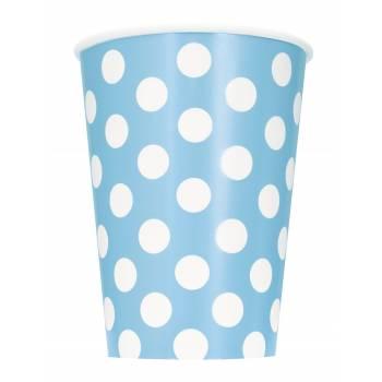 6 Gobelets carton bleu clair à pois