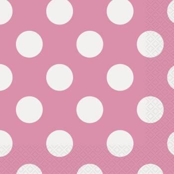 16 serviettes de table rose a pois blanc