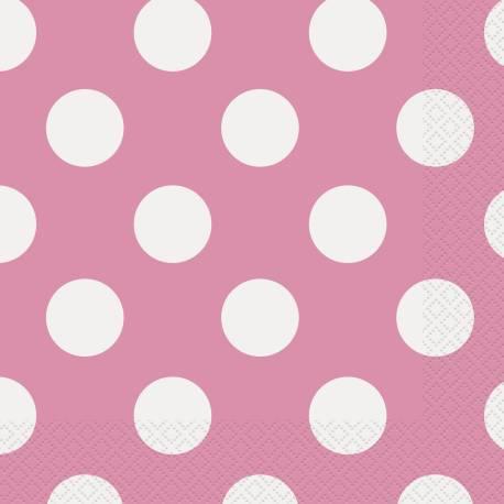 Paquet de 16 serviettes en papier rose à pois blanc pour la decoration de vos tables de fête. Dimensions : 33 cm x 33 cm