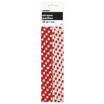 10 pailles à pois rouge/blanc
