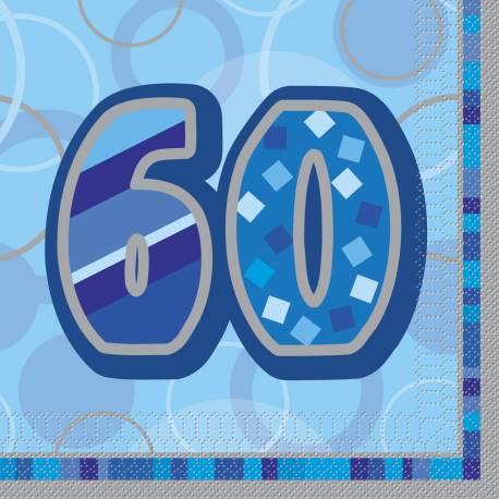 16 Serviettes anniversaires en papier 60 ans Dimensions : 33 cm x 33 cm Parfait pour la deco de votre fête ou anniversaire.