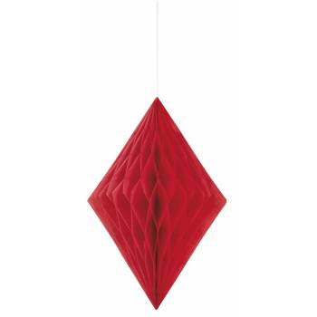 Suspension diamant papier rouge