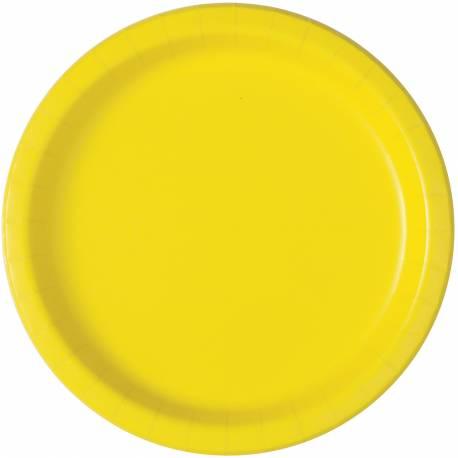 20 assiettes a dessert rondes en carton fluo jaune Ø 18 cm