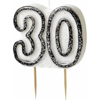Bougie 30 ans black/white