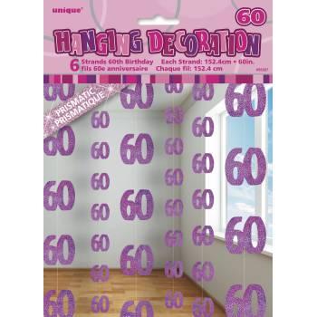 6 Guirlandes fils 60 ans Pink
