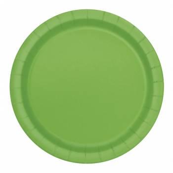 20 Assiettes dessert rondes vert lime