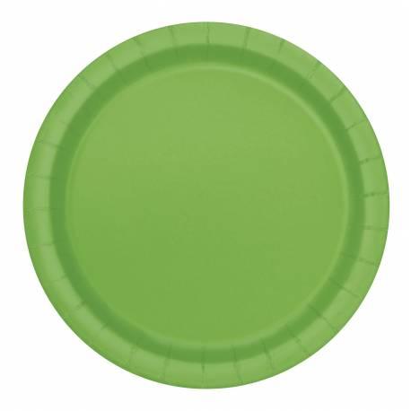 20 assiettes a dessert rondes en cartonvert lime Ø 18 cm