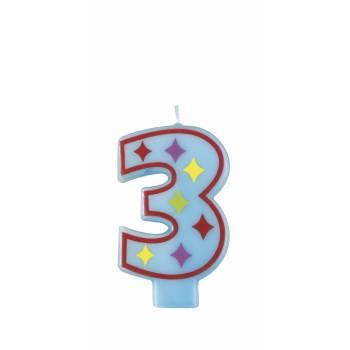 Bougie fantaisie chiffre n°3