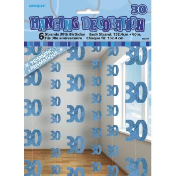 6 Guirlandes fils 30 ans Bleu