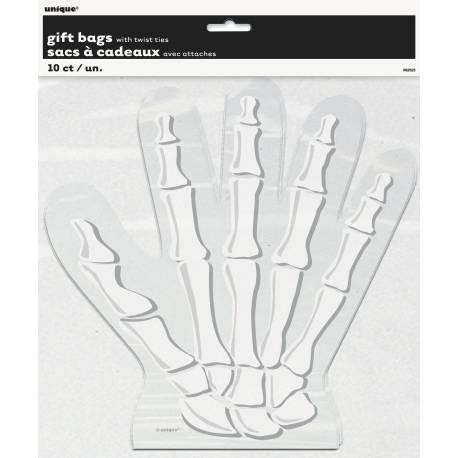 10 Sachets à confiseries en forme de main de squelette Dimensions : 24 cm x 24 cm