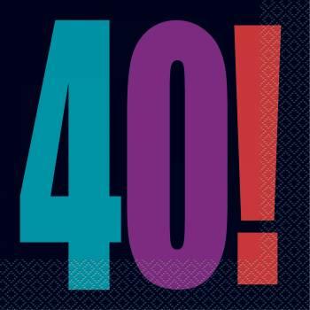 16 serviettes anniversaire 40 ans