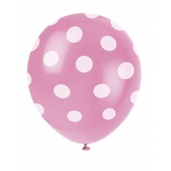 6 Ballons roses à pois