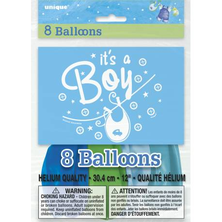 Assortiment de 8 ballons en latex bleu it's a boy