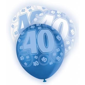 6 Ballons bleu/blanc 40 ans
