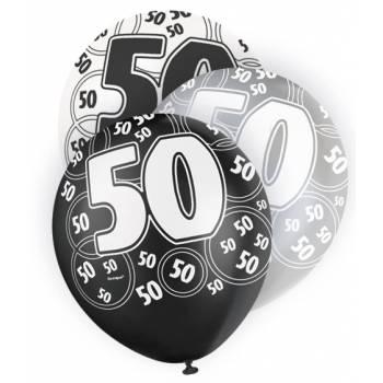 6 Ballons noir/blanc/gris 50 ANS