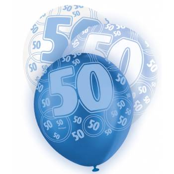 6 Ballons bleu/blanc 50 ans