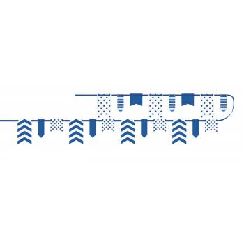 Guirlande fanions chevrons pois bleu