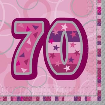 16 Serviettes 70 ans Pink