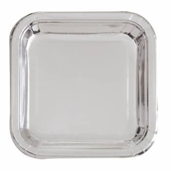 8 Assiettes carrée dessert en carton argent métallisé
