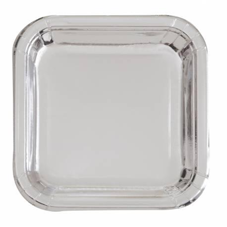 8 Assiettes dessert carrée en carton de couleur argent métallisé Dimensions : 18 cm x 18 cm