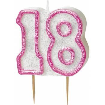 Bougie 18 ans Pink pailleté