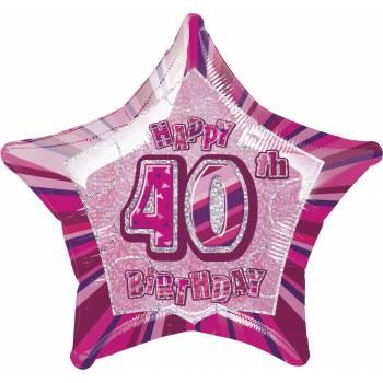 Ballon Star Pink 40 ans