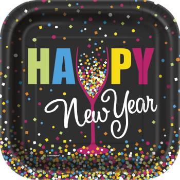 10 Assiettes carrée dessert Happy New year confettis