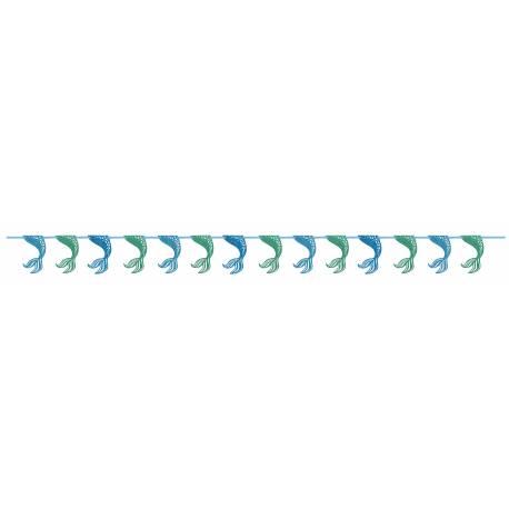 Superbe guirlande de queues de sirène pailleté pour la deco anniversaire sur le thème des Sirènes de votre fille. Dimensions : 275cm