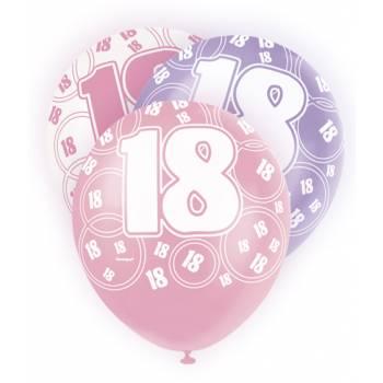 6 Ballons rose, blanc, parme 18 ans