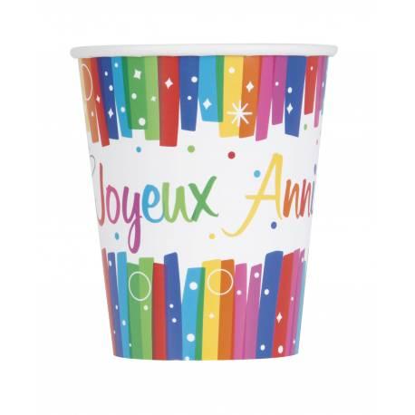 8 gobeletsen carton Joyeux anniversaire Rainbow pour la deco de vos fêtes d'anniversaire. 20 cl