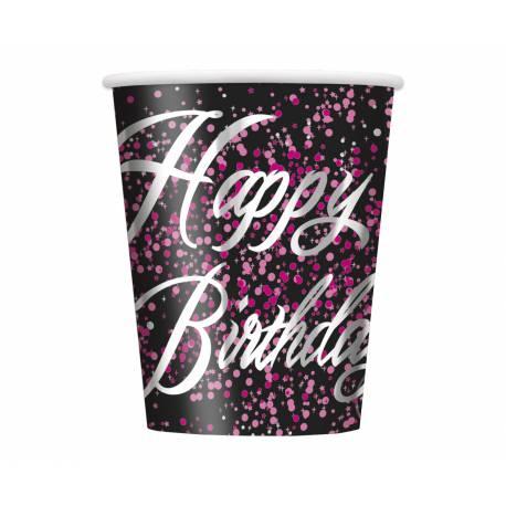 8 Gobelets en carton happy birthday glitz black pink 25cl Parfait pour la deco de votre fête ou anniversaire.