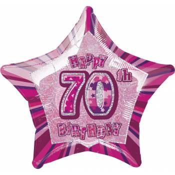 Ballon Star Pink 70 ans