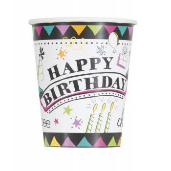 8 Gobelets Doodle birthday