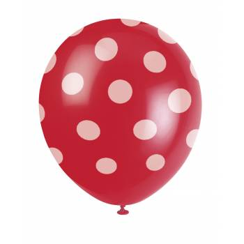 6 Ballons pois rouge