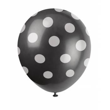 6 Ballons pois noir