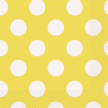 16 Serviettes pois jaunes