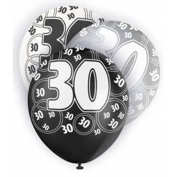 6 Ballons noir/blanc/gris 30 ANS