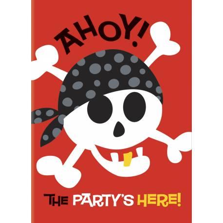 8 Invitations anniversaire pirate + enveloppes