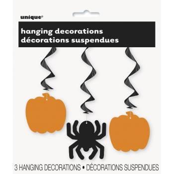 3 Suspensions Halloween orange/noire