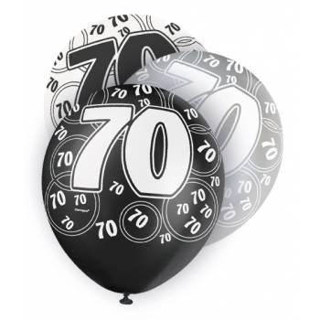 6 Ballons noir/blanc/gris 70 ANS