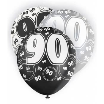 6 Ballons noir/blanc/gris 90 ANS